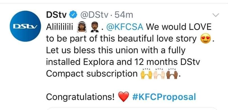 Text - @DStv 54m DStv DStv Alilililili @KFCSA We would LOVE to be part of this beautiful love story Let us bless this union with a fully installed Explora and 12 months DStv Compact subscription #KFCProposal Congratulations!