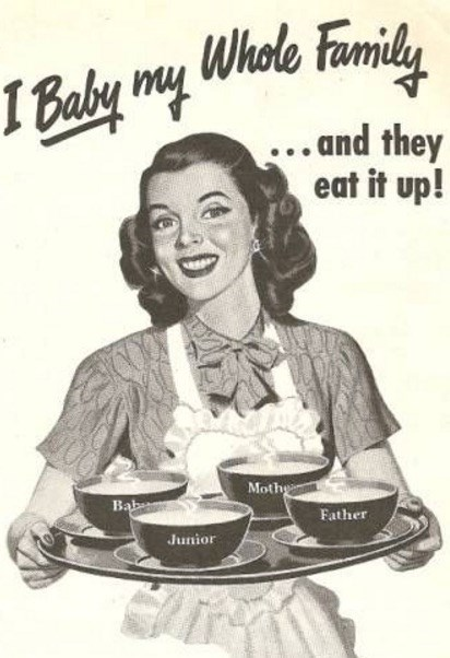 Vintage advertisement - Whole Famnily 1 Baly y ..and they eat it up! Moth Bab Father Junior
