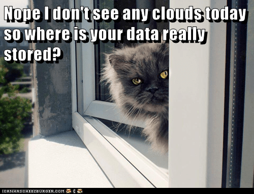 Cat - Nope Idon't see any clouds today SOwhere is vour data really stored? ICANHSCHEE2EURGER cOM