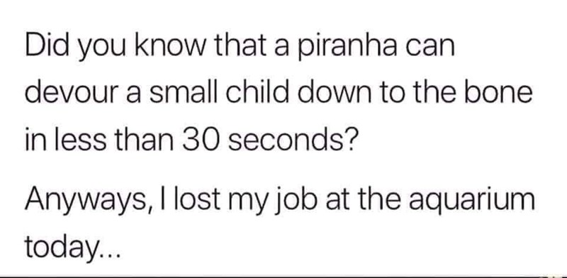 Text - Did you know that a piranha can devour a small child down to the bone in less than 30 seconds? Anyways, I lost my job at the aquarium today...