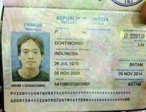 Identity document - REPURLI ONSSIA REPUT PASPOR 4SSPGT U 209138 DONTWORRY INDONESIA 26 JUL 1979 BATAM 09 NOV 2009 09 NOV 2014 BATAM 1A13BK3758CHRP NIKIM 110089628940 P<IDNECDONTWORRY<CCe U209138<1IDN7907267M1411096cc<cceececco0