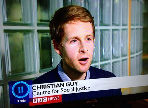 Forehead - CHRISTIAN GUY Centre for Social Justice O min BBC NEWS SAMSUND