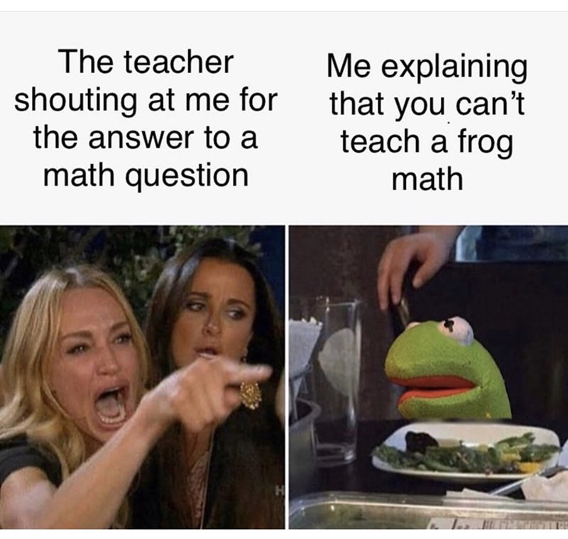 Photo caption - The teacher Me explaining that you can't teach a frog shouting at me for the answer to a math question math