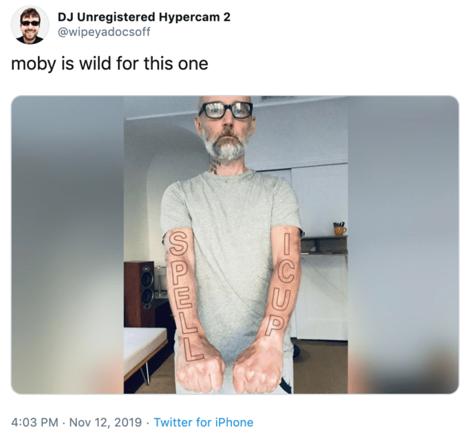 Glasses - DJ Unregistered Hypercam 2 @wipeyadocsoff wild for this one moby 4:03 PM Nov 12, 2019 Twitter for iPhone SPE