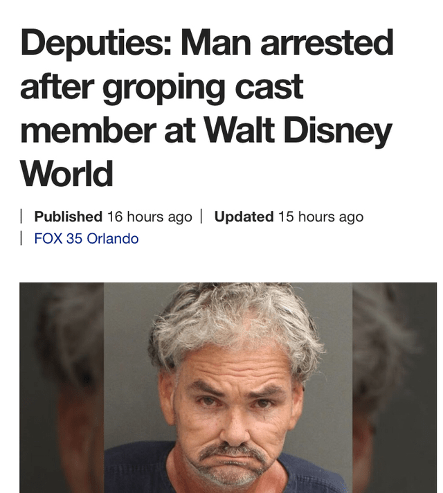 Hair - Deputies: Man arrested after groping cast member at Walt Disney World Published 16 hours ago| Updated 15 hours ago FOX 35 Orlando