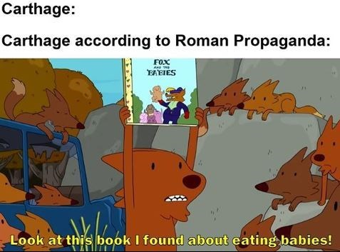 Animated cartoon - Carthage: Carthage according to Roman Propaganda: FOX A TE EAEIES Look at this book I found about eating babies!