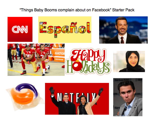 """Text - """"Things Baby Booms complain about on Facebook"""" Starter Pack Español CAN GATOR GATORADE"""
