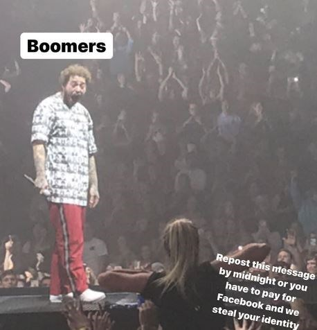 Performance - Boomers Repost this mtessage by midnight or you have to pay for Facebook and we steal your identity