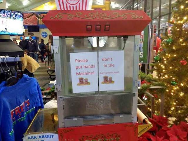 Snack - Csre S don't Please put hands Machine! in the A ront a ASK ABOUT