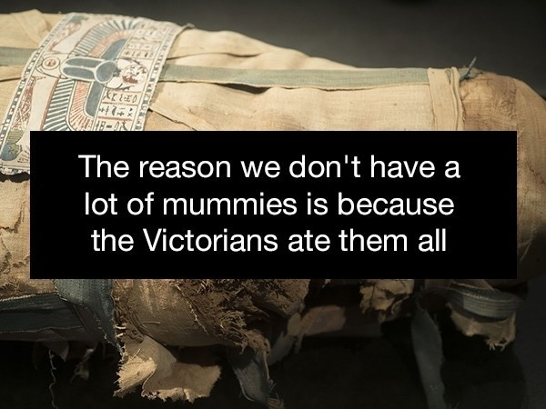 Text - The reason we don't have a lot of mummies is because the Victorians ate them all