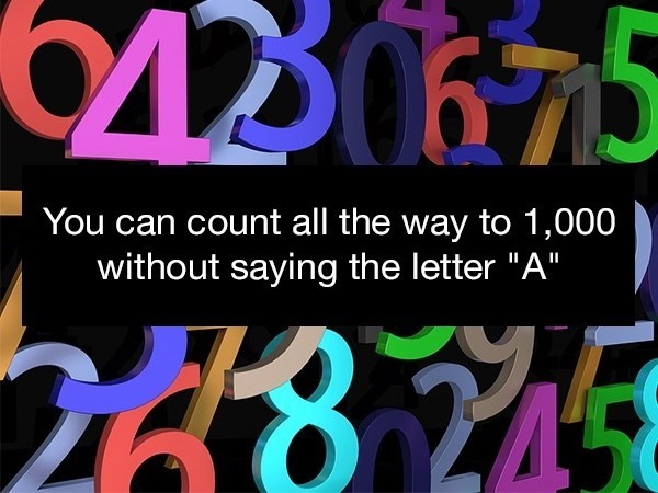 "Font - 2675 You can count all the way to 1,000 without saying the letter ""A"""