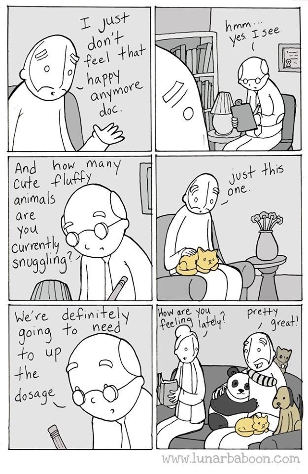 White - I Just don't feel that happy anymore hmm. yes. I see doc. And howmany Cute fluffy animals Just this one are You Currently snuggling? We're definitely going to need to up the How are you feeling pretty great lafely? dosage www.lunarbaboon.com
