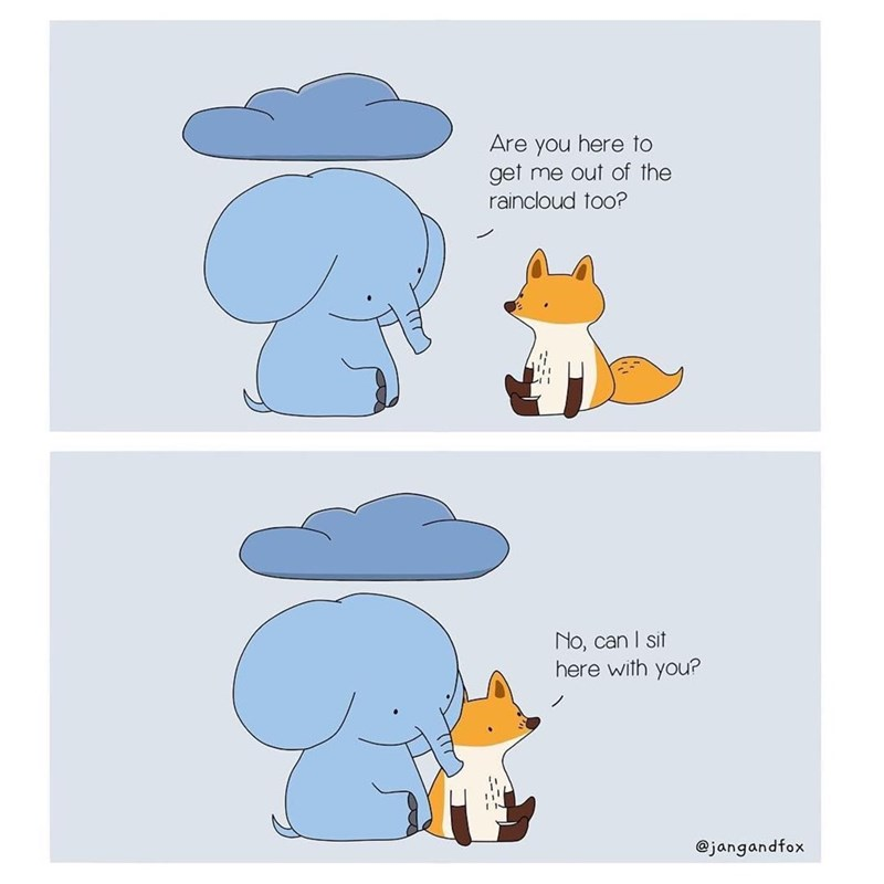 Cartoon - Are you here to get me out of the raincloud to0? No, can I sit here with you? @jangandfox