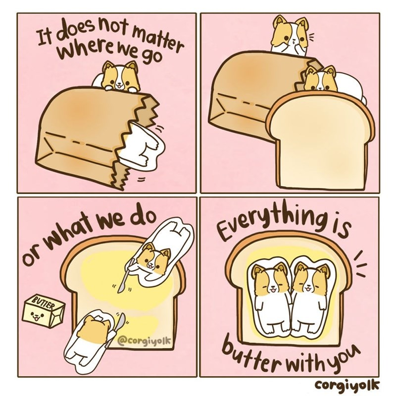 Cartoon - It does not matter where we go Everything is what we do BUTTER @corgiyolk butter withyo corgiyolk