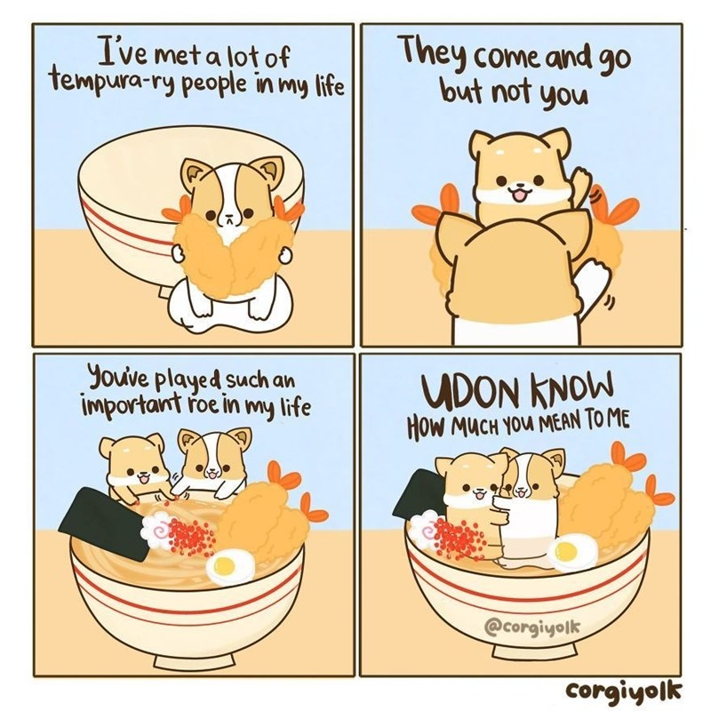 Cartoon - Ive meta lot of tempura-ry people in my life They come and go but not you youve played such an important roe in my life UDON KNOW HOW MUCH YOu MEAN TO ME @corgiyolk Corgiyolk
