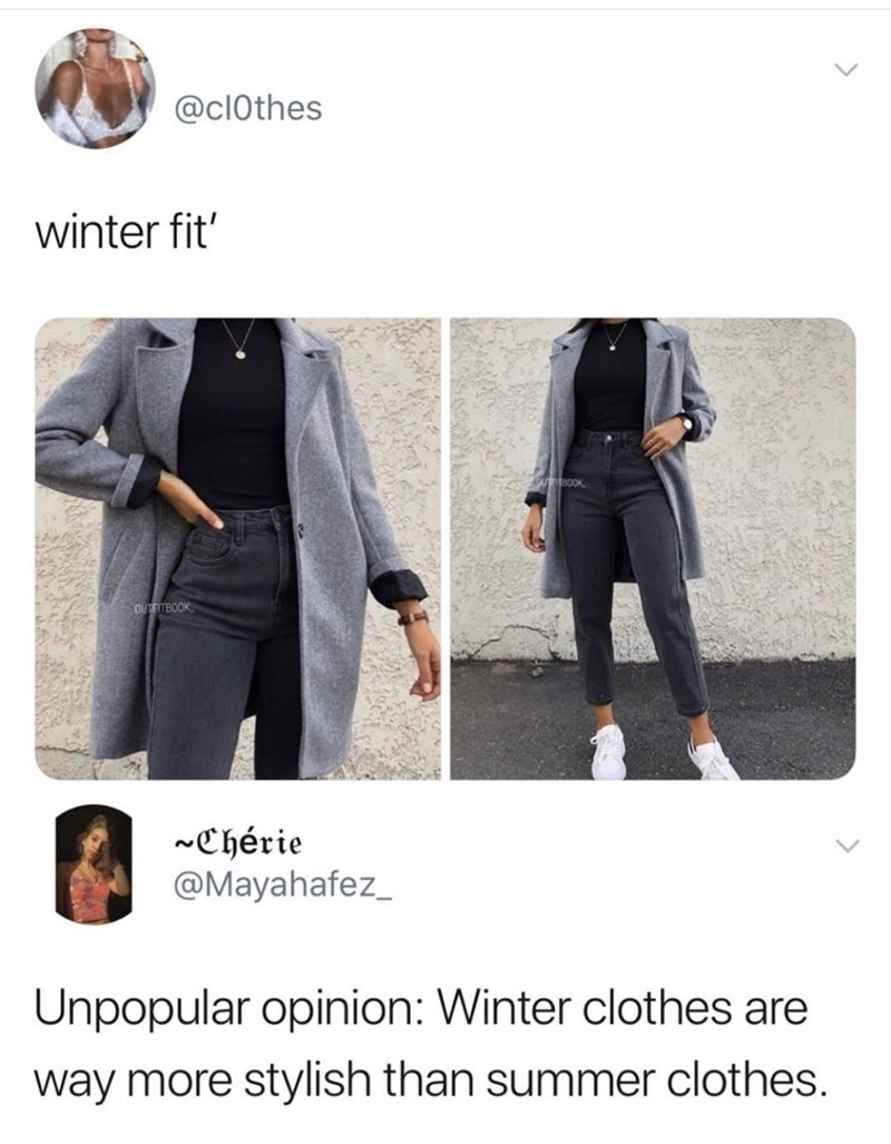 Clothing - @clOthes winter fit' OUTOTBOOK OUTFITBOOK ~Chérie @Mayahafez_ Unpopular opinion: Winter clothes are way more stylish than summer clothes.