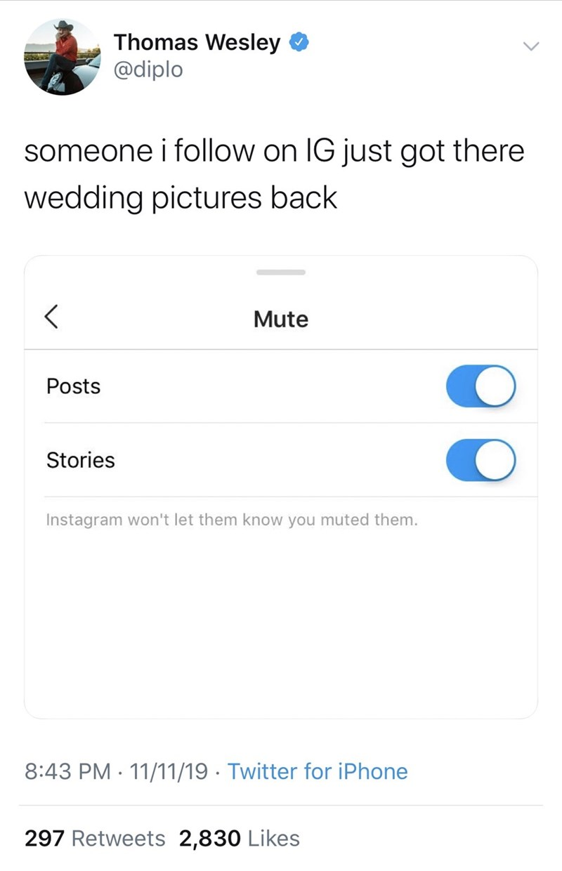 Text - Thomas Wesley @diplo someone i follow on IG just got there wedding pictures back Mute Posts Stories Instagram won't let them know you muted them. 8:43 PM 11/11/19 Twitter for iPhone 297 Retweets 2,830 Likes
