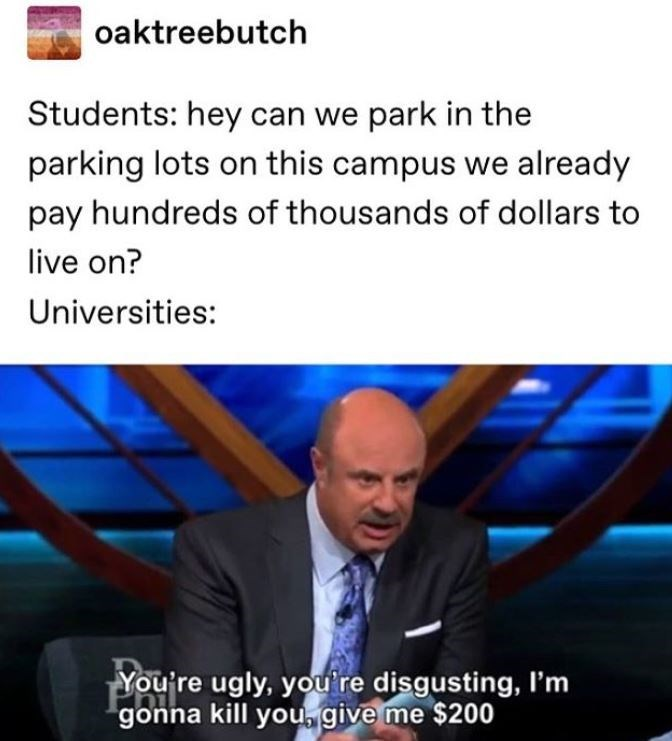 Text - oaktreebutch Students: hey can we park in the parking lots on this campus we already pay hundreds of thousands of dollars to live on? Universities: You're ugly, youre disgusting, I'm gonna kill you give me $200