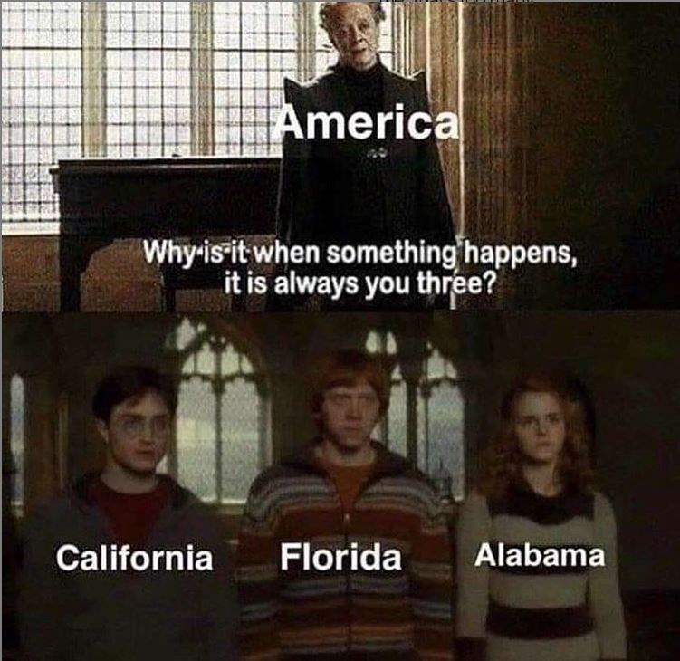 Photo caption - America Why isit when something happens, it is always you three? Florida Alabama California
