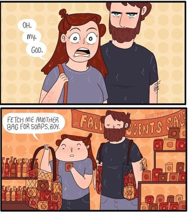 Cartoon - OH. my. GOD. FETCH ME ANOTHER BAG FOR SOAPS,BOY OARTBYMOGA POGENTS SA
