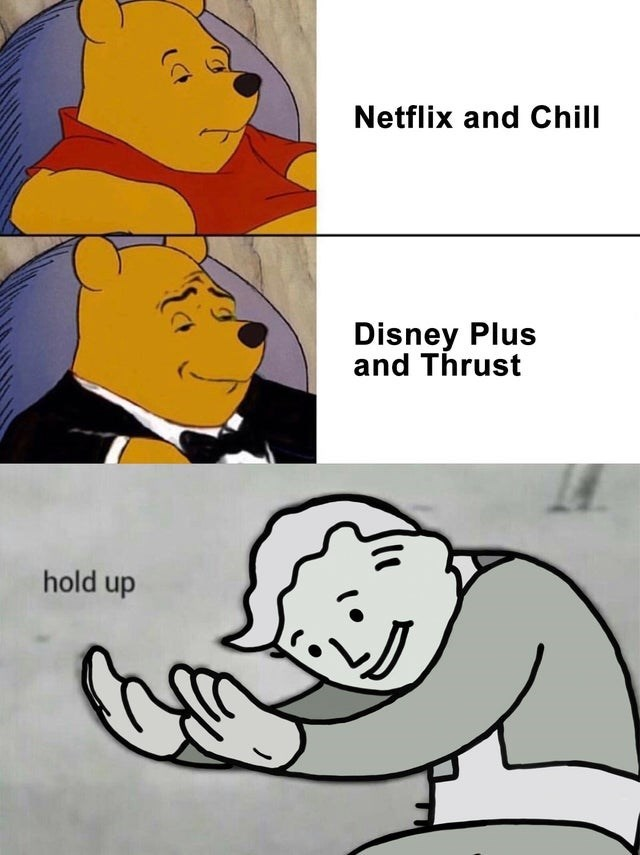 Cartoon - Netflix and Chill Disney Plus and Thrust hold up