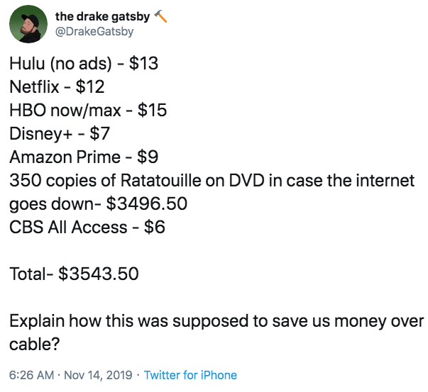Text - the drake gatsby @DrakeGatsby Hulu (no ads) $13 Netflix $12 HBO now/max - $15 Disney+ $7 Amazon Prime $9 350 copies of Ratatouille on DVD in case the internet goes down- $3496.50 CBS All Access - $6 Total- $3543.50 Explain how this was supposed to save us money over cable? Nov 14, 2019 Twitter for iPhone 6:26 AM