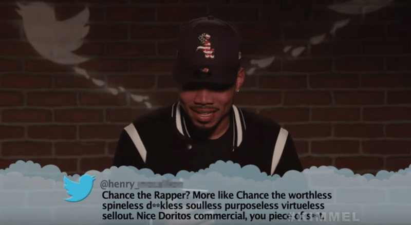 Text - @henry Chance the Rapper? More like Chance the worthless spineless d*kless soulless purposeless virtueless sellout. Nice Doritos commercial, you piece of s t, MEL