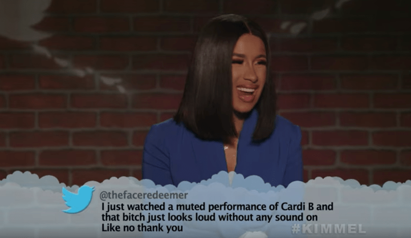 Text - @thefaceredeemer I just watched a muted performance of Cardi B and that bitch just looks loud without any sound on Like no thank you #KIMMEL