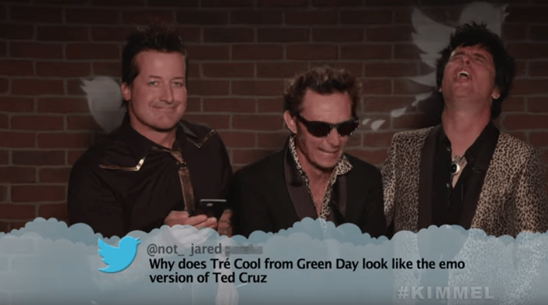 People - @not jared Why does Tre Cool from Green Day look like the emo version of Ted Cruz #KIMMEL