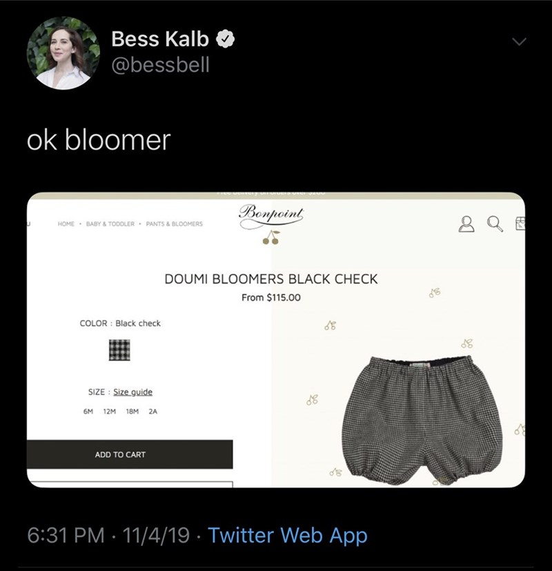 Text - Bess Kalb @bessbell ok bloomer Bonpoint HOME BABY & TODDLER PANTS & BLOOMERS DOUMI BLOOMERS BLACK CHECK From $115.00 COLOR : Black check SIZE Size guide 6M 12M 18M 2A ADD TO CART 6:31 PM 11/4/19 Twitter Web App