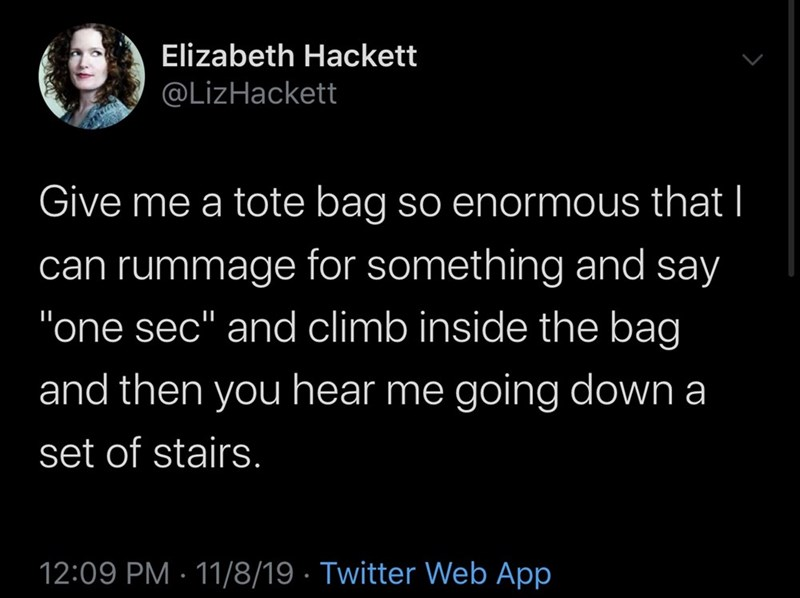 """Text - Elizabeth Hackett @LizHackett Give me a tote bag so enormous that I can rummage for something and say """"one sec"""" and climb inside the bag and then you hear me going down a set of stairs. 12:09 PM 11/8/19 Twitter Web App"""