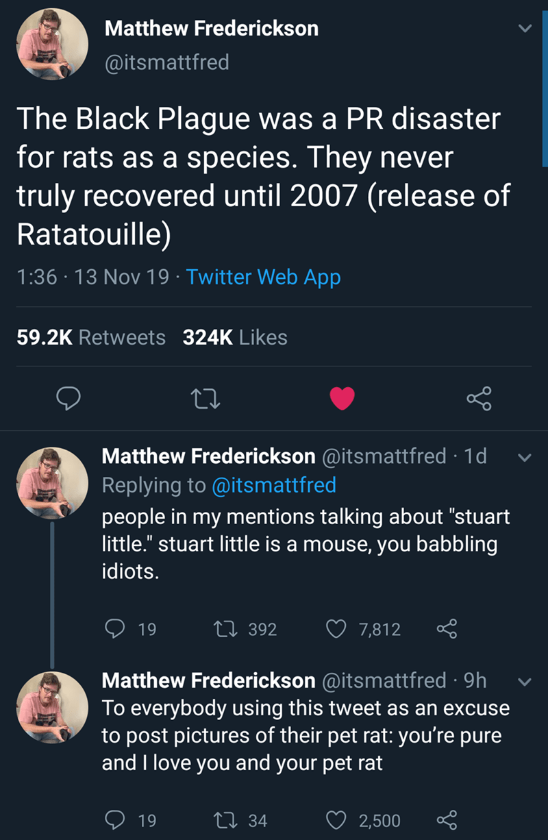 """Text - Matthew Frederickson @itsmattfred The Black Plague was a PR disaster for rats as a species. They never truly recovered until 2007 (release of Ratatouille) 1:36 13 Nov 19 Twitter Web App 59.2K Retweets 324K Likes Matthew Frederickson @itsmattfred 1d Replying to @itsmattfred people in my mentions talking about """"stuart little."""" stuart little is a mouse, you babbling idiots. Li 392 19 7,812 Matthew Frederickson @itsmattfred 9h To everybody using this tweet as an excuse to post pictures of the"""
