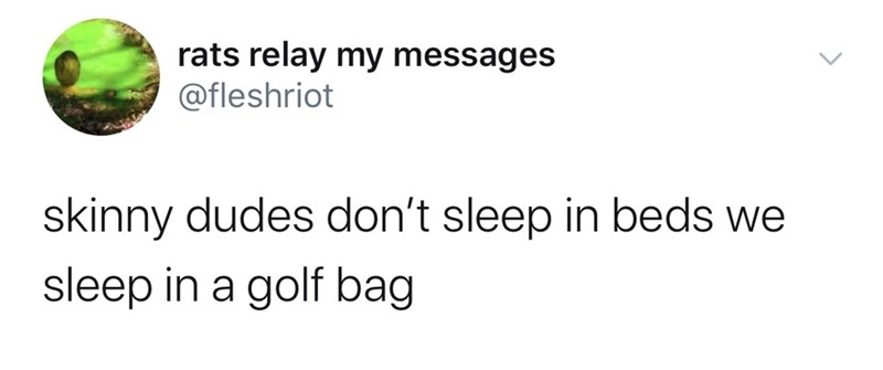 Text - rats relay my messages @fleshriot skinny dudes don't sleep in beds we sleep in a golf bag