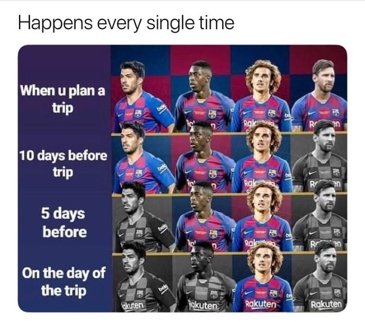 Team - Happens every single time When u plan a trip Rak R en 10 days before trip Rak R en 5 days before Rak en On the day of the trip belg akuten akuten Rakuten Rakuten