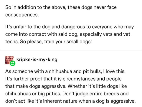 Text - So in addition to the above, these dogs never face consequences. It's unfair to the dog and dangerous to everyone who may come into contact with said dog, especially vets and vet techs. So please, train your small dogs! kripke-is-my-king As someone with a chihuahua and pit bulls, I love this. It's further proof that it is circumstances and people that make dogs aggressive. Whether it's little dogs like chihuahuas or big pitties. Don't judge entire breeds and don't act like it's inherent n