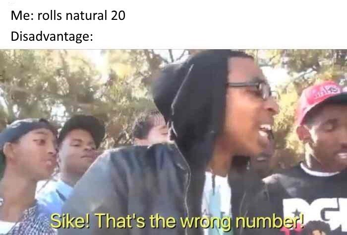 People - Me: rolls natural 20 Disadvantage: Sike! That's the wrorg number!