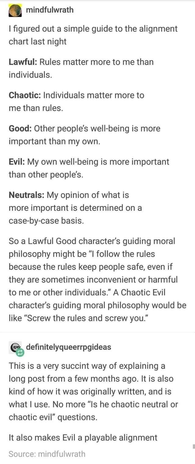 """Text - mindfulwrath I figured out a simple guide to the alignment chart last night Lawful: Rules matter more to me than individuals Chaotic: Individuals matter more to me than rules. Good: Other people's well-being is more important than my own. Evil: My own well-being is more important than other people's. Neutrals: My opinion of what is more important is determined on a case-by-case basis. So a Lawful Good character's guiding moral philosophy might be """"I follow the rules because the rules keep"""
