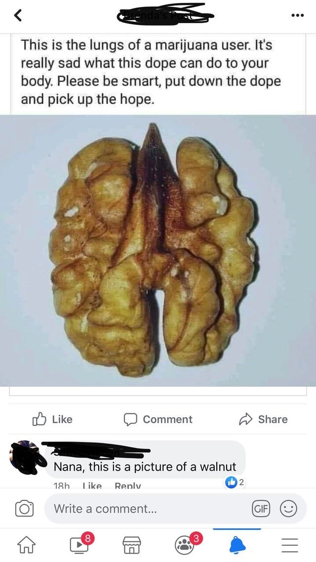 Brain - This is the lungs of a marijuana user. It's really sad what this dope can do to your body. Please be smart, put down the dope and pick up the hope. Like Share Comment Nana, this is a picture of a walnut 2 Like 18h Renlv Write a comment... GIF