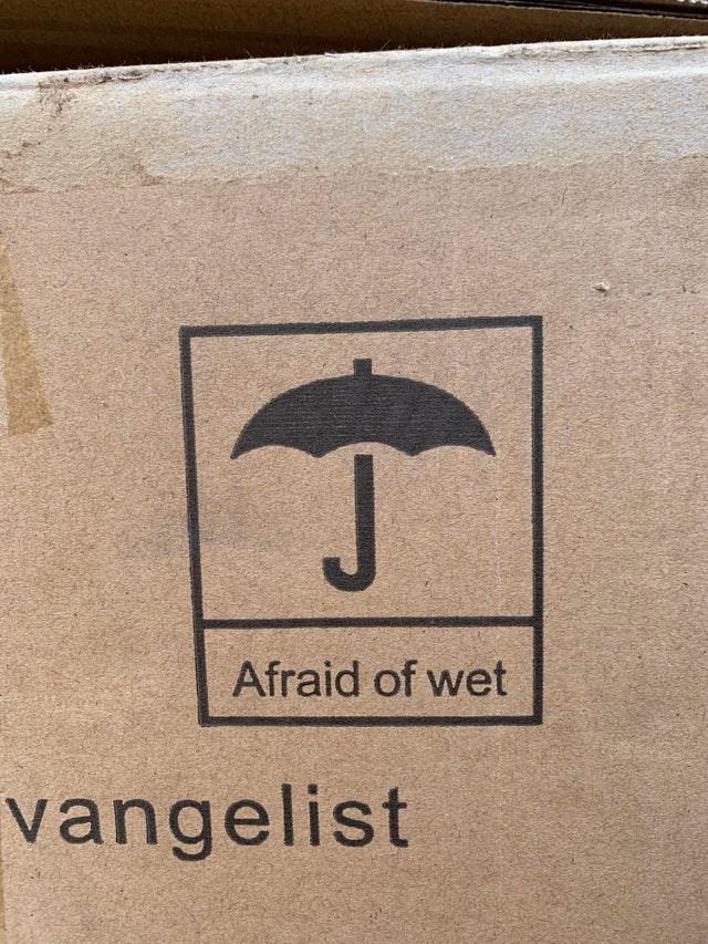 Text - Umbrella - Afraid of wet vangelist