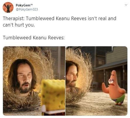 Text - PokyGem @PokyGem023 Therapist: Tumbleweed Keanu Reeves isn't real and can't hurt you. Tumbleweed Keanu Reeves: