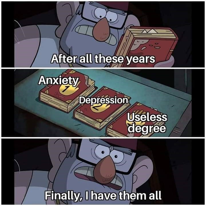 Cartoon - After all these years Anxiety Depression Useless degree Finally, I have them all