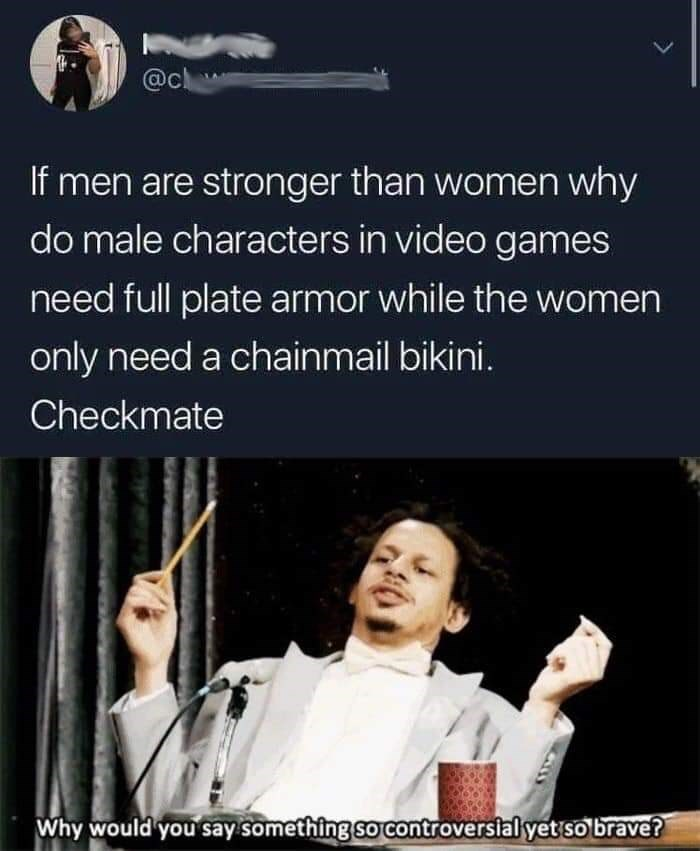 Text - @c If men are stronger than women why do male characters in video games need full plate armor while the women only need a chainmail bikini. Checkmate Why would you say something so controversial yet so brave?