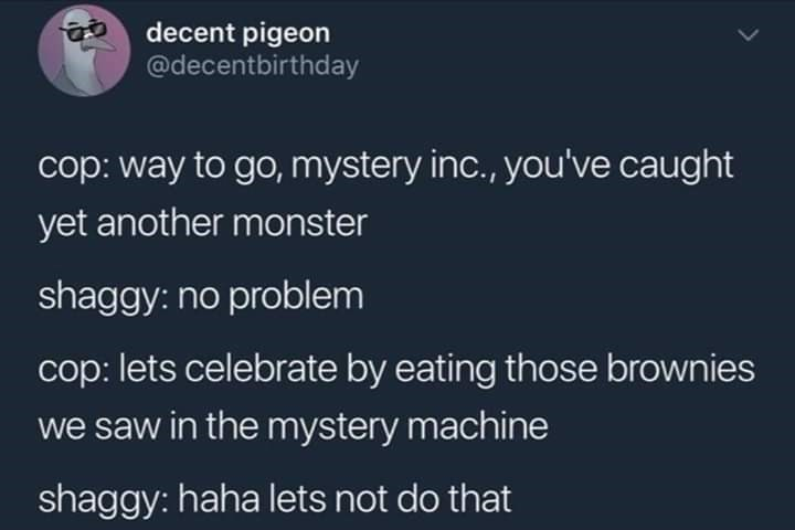 Text - decent pigeon @decentbirthday cop: way to go, mystery inc., you've caught yet another monster shaggy: no problem cop: lets celebrate by eating those brownies we saw in the mystery machine shaggy: haha lets not do that