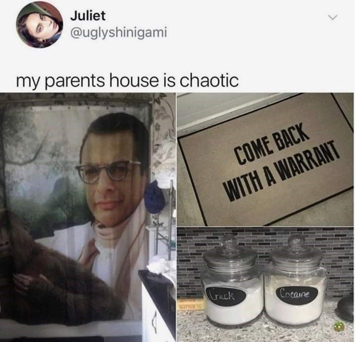 Product - Juliet @uglyshinigami my parents house is chaotic COME BACK WITH A WARRANT Crack Cocane