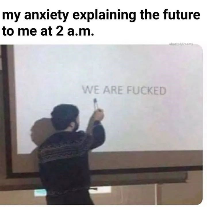 Text - my anxiety explaining the future to me at 2 a.m. aborteddreams WE ARE FUCKED