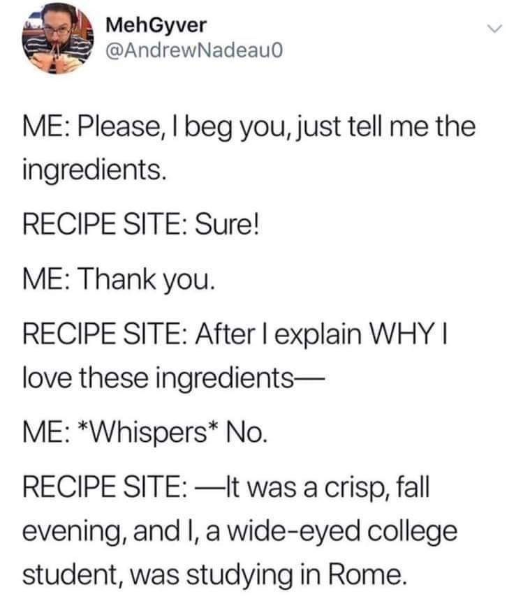"Text - MehGyver @AndrewNadeau0 ME: Please, I beg you, just tell me the ingredients. RECIPE SITE: Sure! ME: Thank you. RECIPE SITE: After I explain WHY love these ingredients ME: ""Whispers* No. RECIPE SITE: -It was a crisp, fall evening, and I, a wide-eyed college student, was studying in Rome."