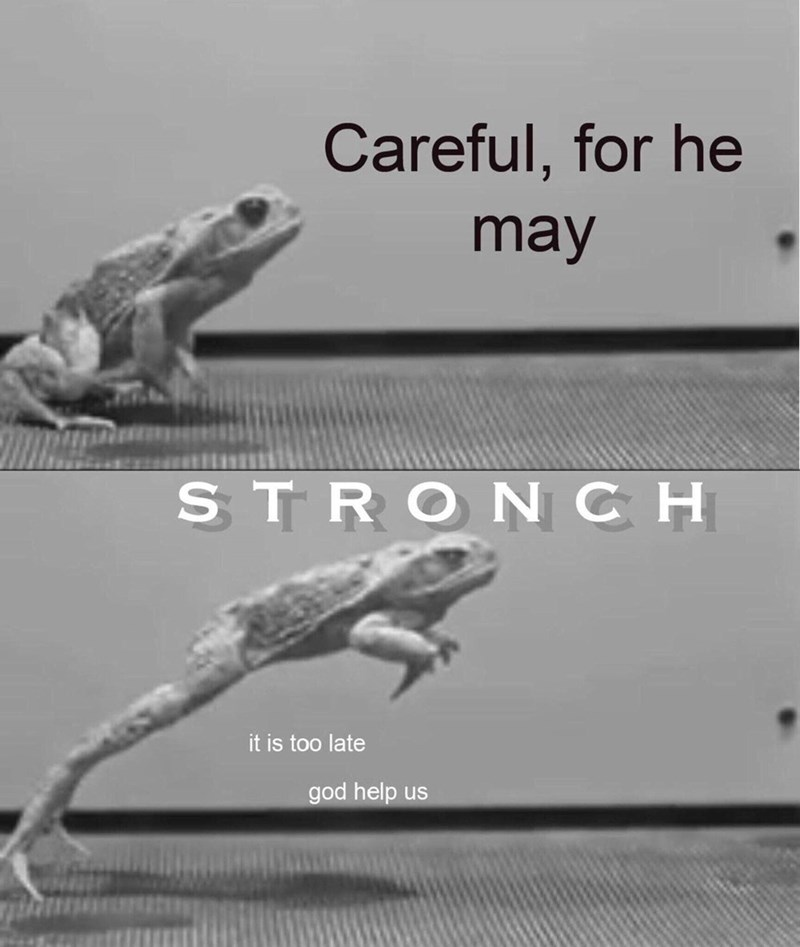 Lizard - Careful, for he may STRONCH it is too late god help us
