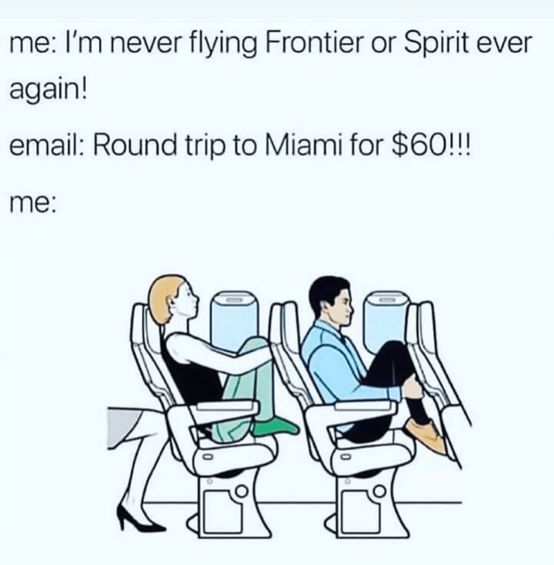 Funny meme about spirit and frontier airlines and going to miami.