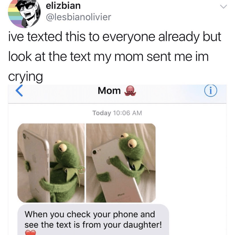 Organism - elizbian @lesbianolivier ive texted this to everyone already but look at the text my mom sent me im crying i Mom Today 10:06 AM When you check your phone and see the text is from your daughter!