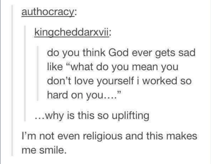 """Text - authocracy: kingcheddarxvi: do you think God ever gets sad like """"what do you mean you don't love yourself i worked so hard on you... ...why is this so uplifting I'm not even religious and this makes me smile."""